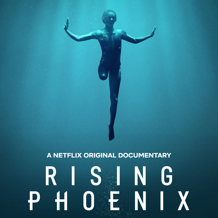 Australian Paralympian Ellie Cole suspended in water. Text on image reads: Rising Phoenix. A Netflix original documentary